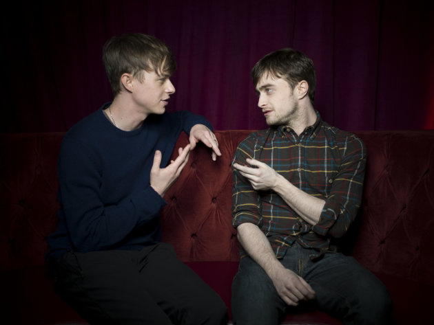 Dane DeHaan, left, and Daniel Radcliffe from the film &quot;Kill Your Darlings,&quot; pose for a portrait during the 2013 Sundance Film Festival at the Fender Music Lodge on Saturday, Jan. 19, 2013 in Park City, Utah. (Photo by Victoria Will/Invision/AP Images)