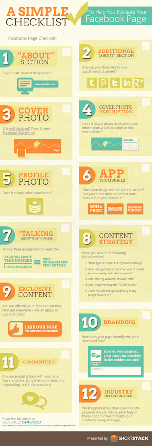 Simple Checklist To Improve Your Facebook Fan Page [Infographic] image improve facebook fan page checklist infographic