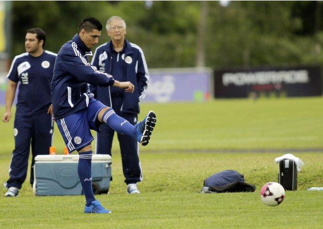 Paraguay's Oscar Cardozo takes part in a training session in Ypane