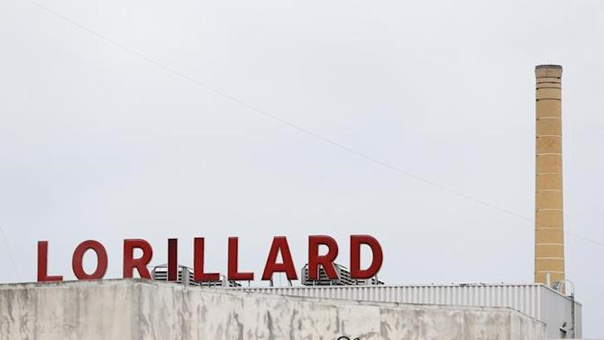 The Lorillard corporate sign is seen atop their cigarette manufacturing plant in Greensboro, North Carolina