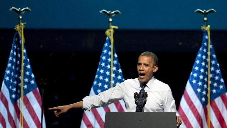 President Barack Obama speaks at a campaign event at the Nokia Theater, Sunday, Oct. 7, 2012, in Los Angeles. (AP Photo/Carolyn Kaster)