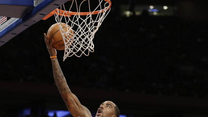 New York Knicks guard J.R. Smith (8) goes up for a a layup in the second quarter of an NBA basketball game against the Atlanta Hawks at Madison Square Garden in New York, Sunday, Jan. 27, 2013.  (AP Photo/Kathy Willens)