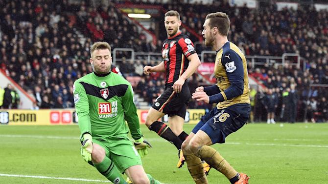 Arsenal's Aaron Ramsey has a shot saved by Bournemouth's Artur Boruc