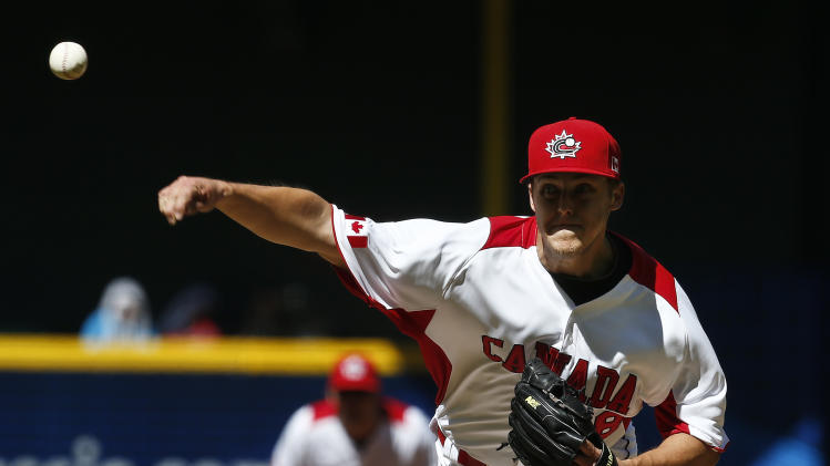 Canada's Jameson Taillon throws against the United States in the first inning of a World Baseball Classic baseball game on Sunday, March 10, 2013, in Phoenix. (AP Photo/Ross D. Franklin)