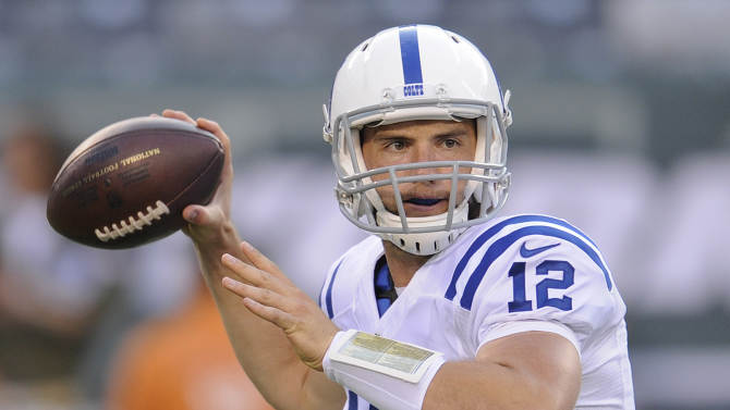 In this Aug. 7, 2014, file photo, Indianapolis Colts quarterback Andrew Luck throws a pass against the New York Jets during the first quarter of an NFL football game in East Rutherford, N.J. Through the first quarter of the fantasy football season, some surprising names have topped the leaderboards at each position, Wednesday, Oct. 1, 2014.  Indianapolis Andrew Luck isnt too much of a stretch as the top quarterback in fantasy under standard scoring rules