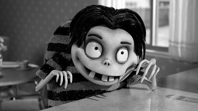 "This film image released by Disney shows Edgar ""E"" Gore, voiced by Atticus Shaffer in a scene from ""Frankenweenie."" (AP Photo/Disney)"