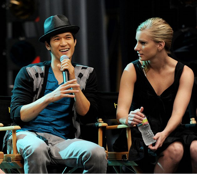 "Harry Shum Jr.. and Dianna Agron appear at the ""GLEE"" 300th musical performance special taping at Paramount Studios on October 26, 2011 in Los Angeles, California."