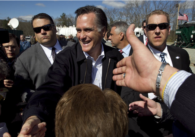 Republican presidential candidate, former Massachusetts Gov. Mitt Romney greets people in the crowd following a campaign event at an energy services company in Tunkhannock, Pa.., Thursday, April 5, 20