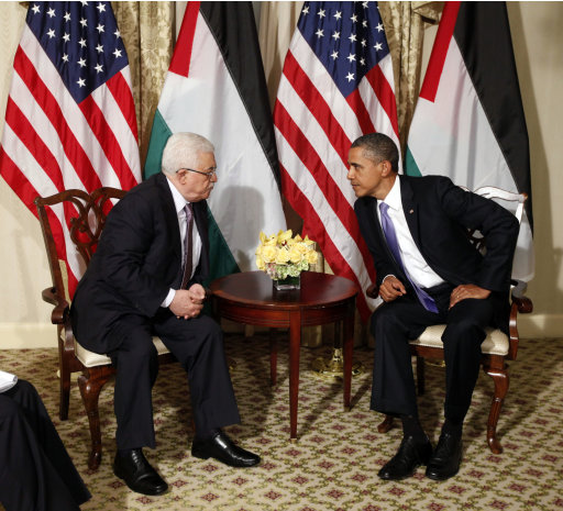 President Barack Obama talks with Palestinian President Mahmoud Abbas during a meeting in New York, Wednesday, Sept., 21, 2011. (AP Photo/Pablo Martinez Monsivais)