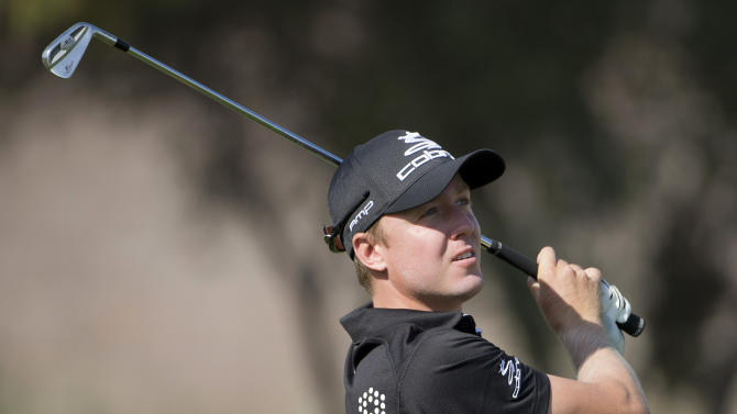 Jonas Blixt of Sweden, tees off the eighth hole during the second round of the Justin Timberlake Shriners Hospitals for Children Open golf tournament, Friday, Oct. 5, 2012, in Las Vegas. (AP Photo/Julie Jacobson)