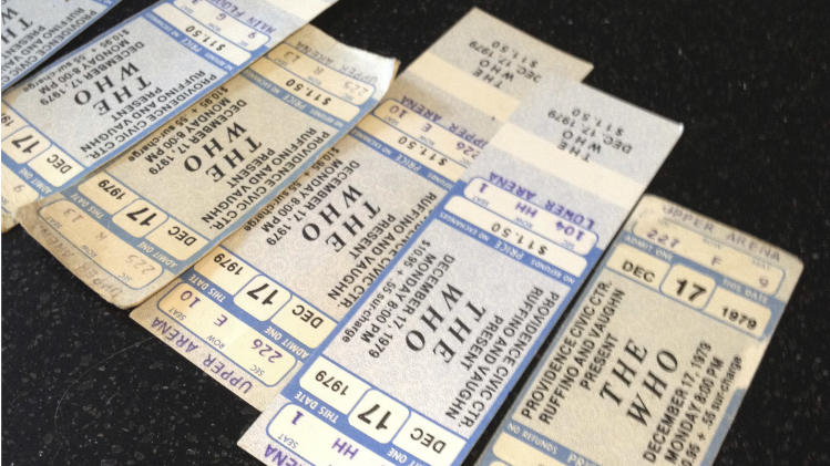 Tickets from a canceled 1979 concert by The Who, which were exchanged by fans for their upcoming Quadrophenia tour concert in February 2013, lay on a counter outside the box office of the Dunkin Donuts Center in Providence, R.I., Tuesday, July 31, 2012.  Their 1979 concert was cancelled due to safety concerns after 11 people died in a stampede before a show in Ohio. The arena honored the tickets for that canceled show, which will be auctioned off to help the Special Olympics. (AP Photo/Michelle R. Smith)