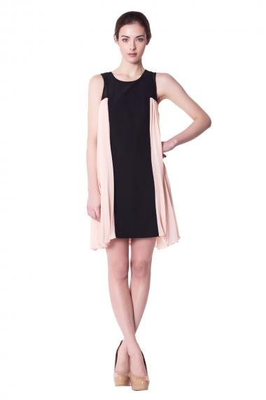 Pleated Side-Paneled Dress