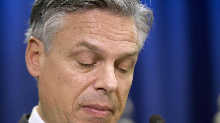 Republican presidential candidate, former Utah Gov. Jon Huntsman announces his withdrawal from the race, Monday, Jan. 16, 2012, in Myrtle Beach, S.C. (AP Photo/David Goldman)