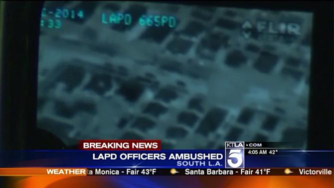 Manhunt Underway After 2 LAPD Officers Ambushed, Shot at in South LA