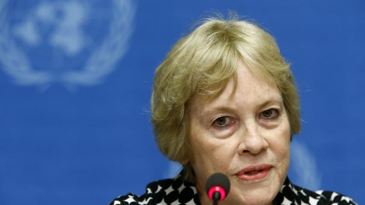 Karen Koning AbuZayd, a member of Independent International Commission of Inquiry on the Syrian Arab Republic, attends a news conference at the United Nations headquarters in Geneva