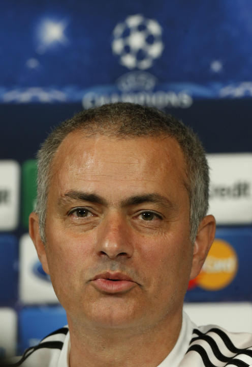 Chelsea manager Jose Mourinho speaks to the media during a press conference at Cobham training ground in Cobham, England, Tuesday Dec. 10, 2013. Chelsea will play Steaua Bucharest in the Champions Lea