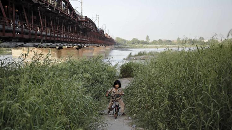 A girl rides a bicycle amid marshes on the banks of river Yamuna in New Delhi