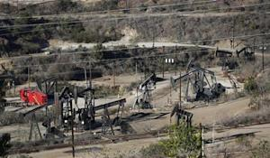 Drilling wells are pictured in Los Angeles