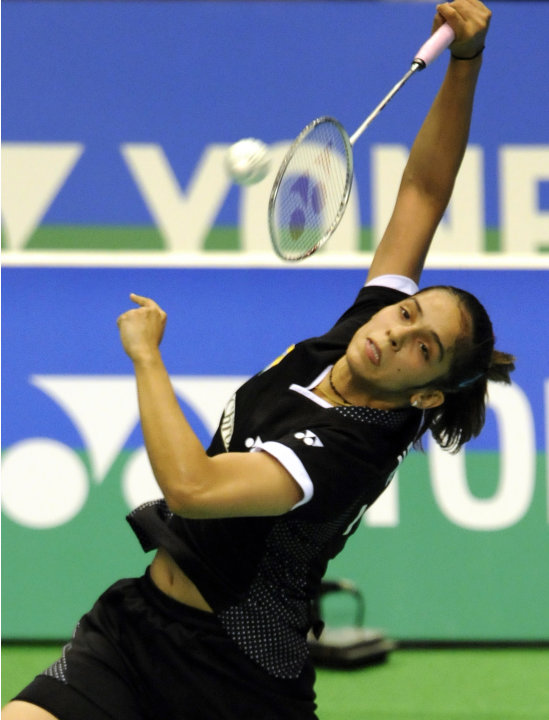 Fourth-seeded Saina Nehwal of India smas