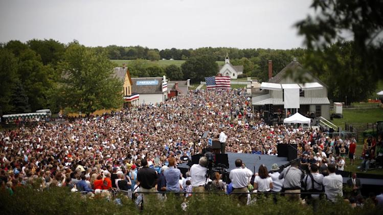 President Barack Obama speaks at a campaign event at the Living History Farms, Saturday, Sept. 1, 2012, in Urbandale, Iowa. (AP Photo/Pablo Martinez Monsivais)