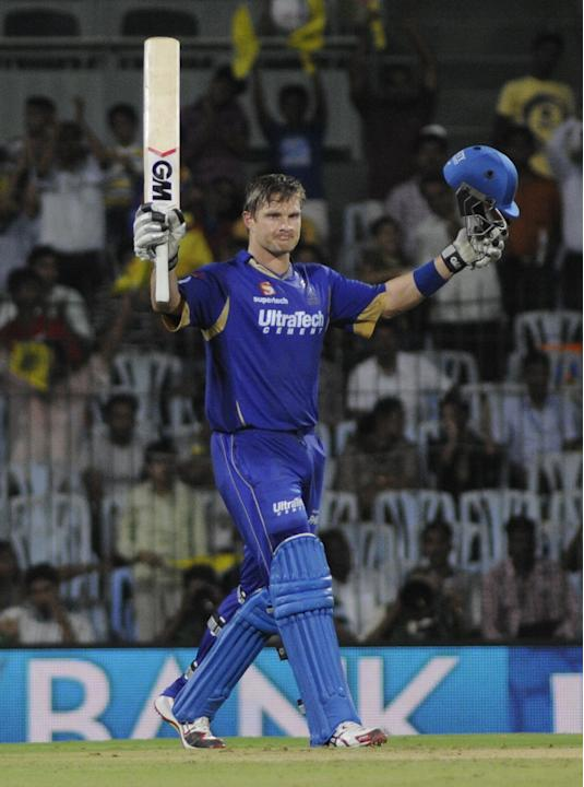 Rajasthan Royals batsman Shane Watson celebrates his century during the match between Rajasthan Royals and Chennai Super Kings at MA Chidambaram Stadium, Chepauk, Chennai on April 22, 2013. (Photo: IA