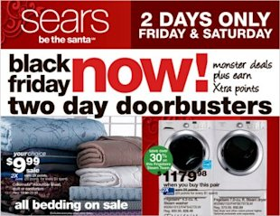 This Sears ad (via New York Times) promotes an early Black Friday sale going on this Friday and Saturday.
