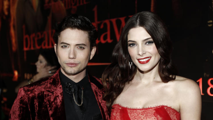 "Jackson Rathbone, left, and Ashley Greene arrive to the world premiere of ""The Twilight Saga: Breaking Dawn - Part 1"" on Monday, Nov. 14, 2011, in Los Angeles. (AP Photo/Matt Sayles)"