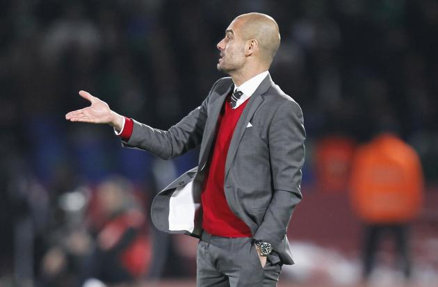 Head coach Pep Guardiola of Bayern Munich gestures during 2013 FIFA Club World Cup final soccer match at Marrakech stadium