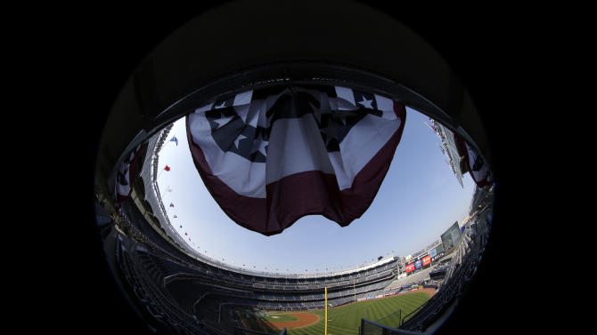 This photo taken with a fisheye lens shows the stands and field at Yankee Stadium before Game 2 of the American League championship series between the New York Yankees and the Detroit Tigers on Sunday, Oct. 14, 2012, in New York. (AP Photo/Charlie Riedel)