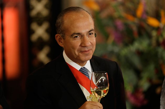 El presidente Felipe Caldern en Palacio Nacional en la cena previo al cambio de gobierno.