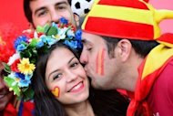 Spain fans pictured ahead of the first Euro 2012 semi-final between Portugal and Spain at the Donbass Arena in eastern Ukrainian city of Donetsk on June 27. WELCOME TO AFP'S LIVE REPORT on the first Euro 2012 semi-final as these two Iberian neighbours battle it out for a place in Sunday's showpiece final in Kiev