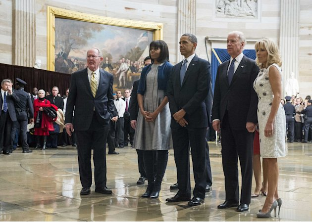President Barack Obama pays his respects at the Martin Luther King, Jr. statue in the Capitol rotunda during the inauguration ceremonies in Washington
