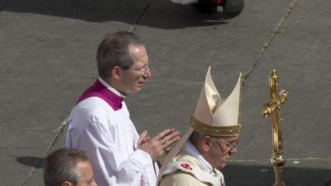Pope Francis arrives to celebrate his first canonization ceremony  in St. Peter's Square at the Vatican, Sunday, May 12, 2013. The pontiff will canonize, Antonio Primaldo and his companions, also known as the Martyrs of Otranto, Laura di Santa Caterina da Siena Montoya of Colombia, and Maria Guadalupe Garcia Zavala of Mexico in a ceremony at the Vatican on Sunday. (AP Photo/Alessandra Tarantino)