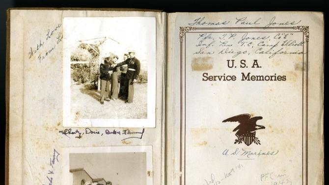 "This photo provided by the National WWII Museum shows pages from the diary by 22-year-old Marine Cpl. Thomas ""Cotton"" Jones, who died in the bloody assault on a Japanese-held island during World War II. Before Jones died, he wrote what he called his ""last life request"" to anyone who might find his diary: Please give it to Laura Mae Davis, the girl he loved. Laura Mae Davis Burlingame _ she married an Army Air Corps man in 1945 _  had given the diary to Jones, and didn't know it had survived him until visiting the museum on April 24. (AP Photo/National WWII Museum)"