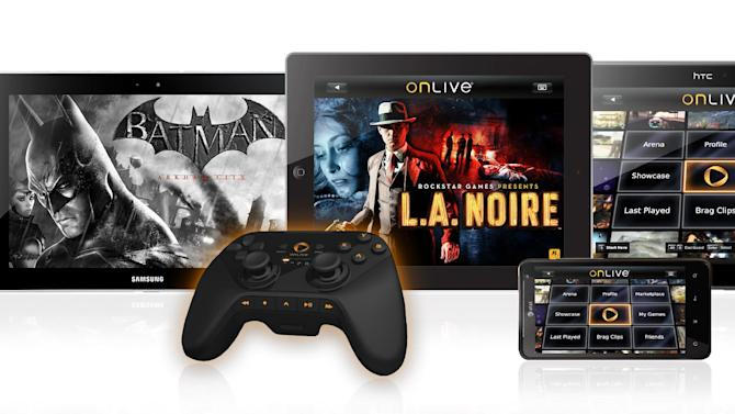 This product image provided by OnLive Inc, shows tablets displaying a variety of games using the OnLive game controller. OnLive, the video game streaming startup that was full of promise when it was unveiled three years ago, has reorganized its business and cut roughly half of its staff amid financial difficulties. But it says it will continue to operate under the same name and users should not see a change in their service. (AP Photo/OnLive Inc.)