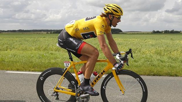 Radioshack-Nissan rider and leader&#39;s yellow jersey Fabian Cancellara of Switzerland cycles during the fifth stage of the 99th Tour de France