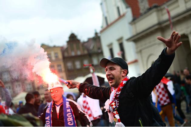 A Croatian Fan Lights AFP/Getty Images