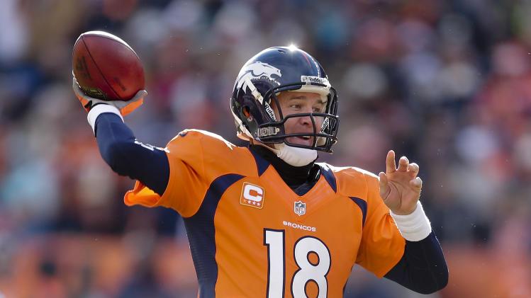 Denver Broncos quarterback Peyton Manning throws a pass in the first quarter of an NFL football game against the Kansas City Chiefs, Sunday, Dec. 30, 2012, in Denver. (AP Photo/Joe Mahoney)