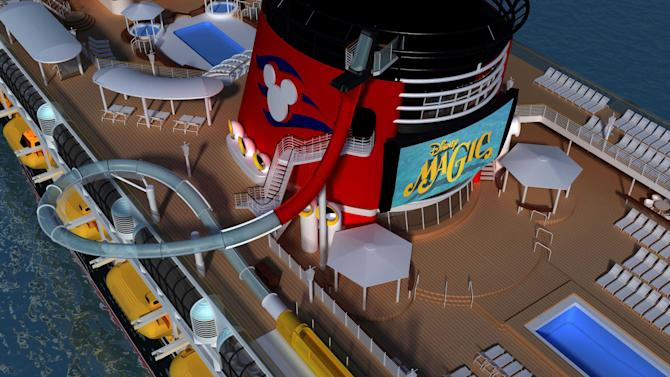 This undated image provided by Disney Cruise Line shows a rendering of how the Disney Magic ship will look when a new three-story water slide is added to the ship's exterior. Disney Magic, launched in 1998, is the oldest in Disney Cruise Line's fleet of four ships. It will get a makeover this fall when it is drydocked for a month in Spain, with changes in decor, technology and themes throughout the ship, including a new kids' area themed on Marvel Comics superheroes. (AP Photo/Disney Cruise Line)
