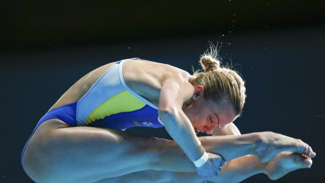 Prokopchuk of Ukraine jumps during the women's 10m platform final at the Aquatics World Championships in Kazan