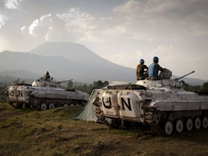 MONUSCO soldiers at a military post in Kibati, some …