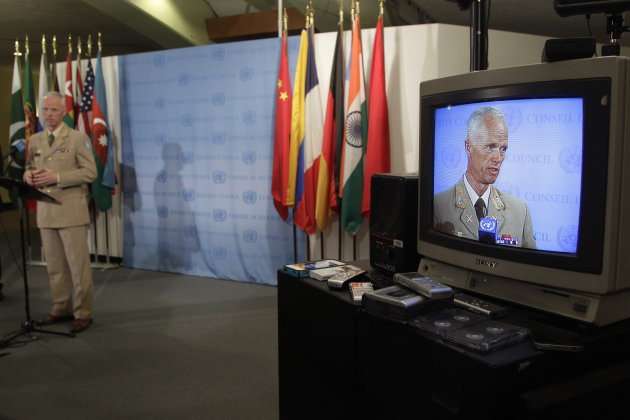 Maj. Gen. Robert Mood, the head of the U.N. observer mission in Syria, speaks to reporters after addressing the Security Council on the situation in Syria, Tuesday, June 19, 2012 at United Nations headquarters. (AP Photo/Mary Altaffer)