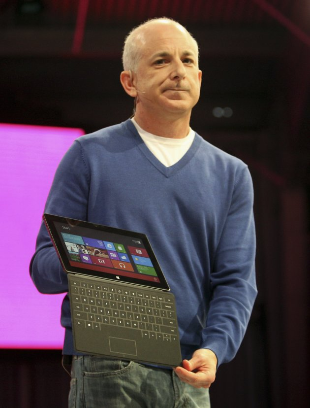 President of the the Windows and Windows Live Division Sinofsky holds new Surface tablet computer during his presentation as it is unveiled in Los Angeles