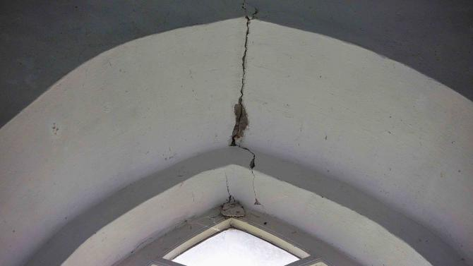 A view of a crack in the ceiling of the 13th-century Maria Church in Westerwijtwerd