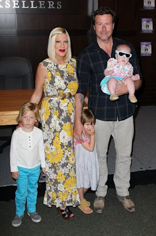 Tori Spelling and husband Dean McDermott pose with their children (L-R) Liam McDermott, Stella McDermott and Hattie McDermott at a signing for Spelling's book 'celebraTORI' at Barnes & Noble at The Grove, Los Angeles, on April 17, 2012 -- Getty Images