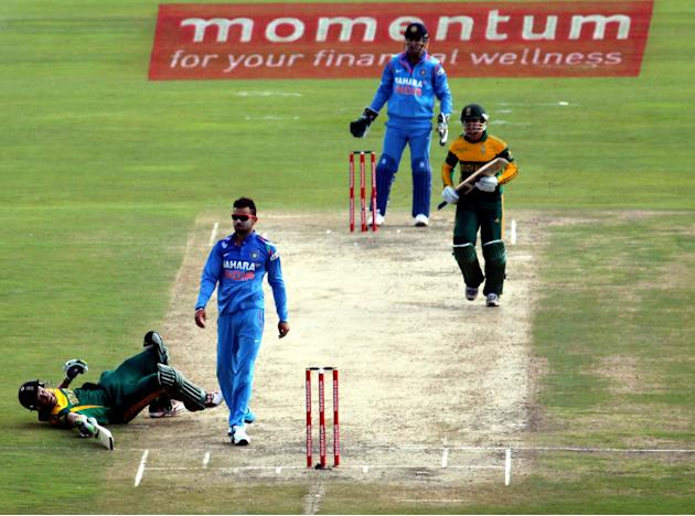 An action moment during the 3rd ODI match between India and South Africa at Super Sport Park in Centurion on Dec.11, 2013. (Photo: IANS)