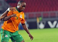 Zambia's Collins Mbesuma, pictured in January 2012. Zambia beat South Africa 1-0 in a friendly in Soweto Wednesday to add the Nelson Mandela Cup to the Africa Cup of Nations trophy they won earlier this year.