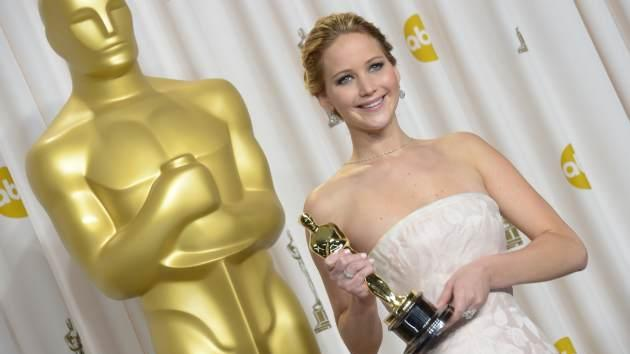 Best Actress winner Jennifer Lawrence celebrates in the press room for her role in 'Silver Linings Playbook' during the 85 Academy Awards on February 24, 2013 in Hollywood -- Getty Images