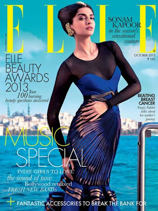 Image courtesy : iDiva.comSonam Kapoor for Elle, October 2013 cover: Sonam never disappoints us on magazine covers. She looked striking in Amit Aggarwal couture. Traditional jewellery with a futuristi