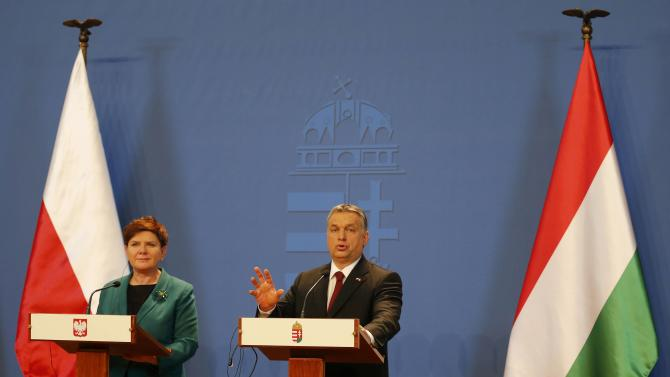 Hungarian Prime minister Orban and his Polish counterpart Szydlo attend a news conference after their meeting in Budapest